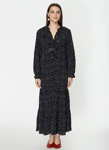 Loves You Yakası Fırfırlı Eteği Kesikli Crep Puantiye Elbise Siyah